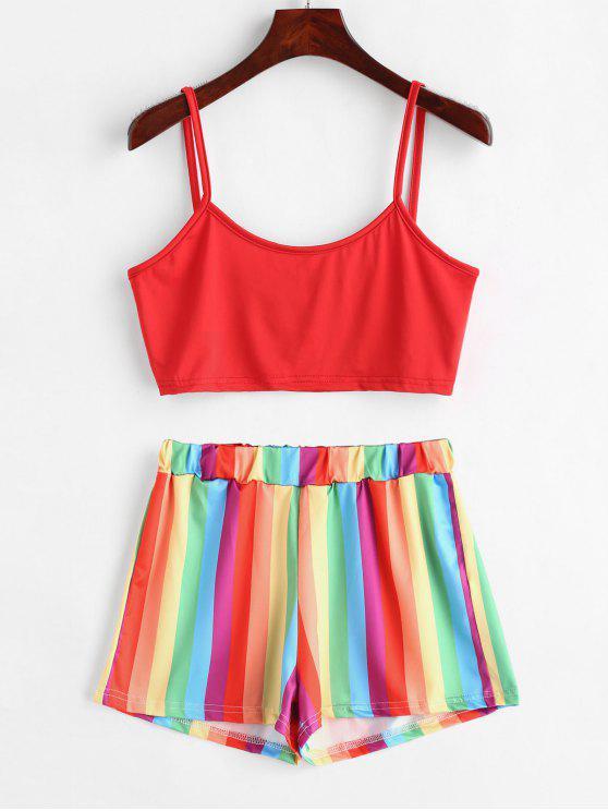 fancy Rainbow Stripe Two Piece Set - MULTI-A M