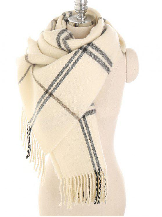 sale Checked Pattern Fringed Scarf - BEIGE