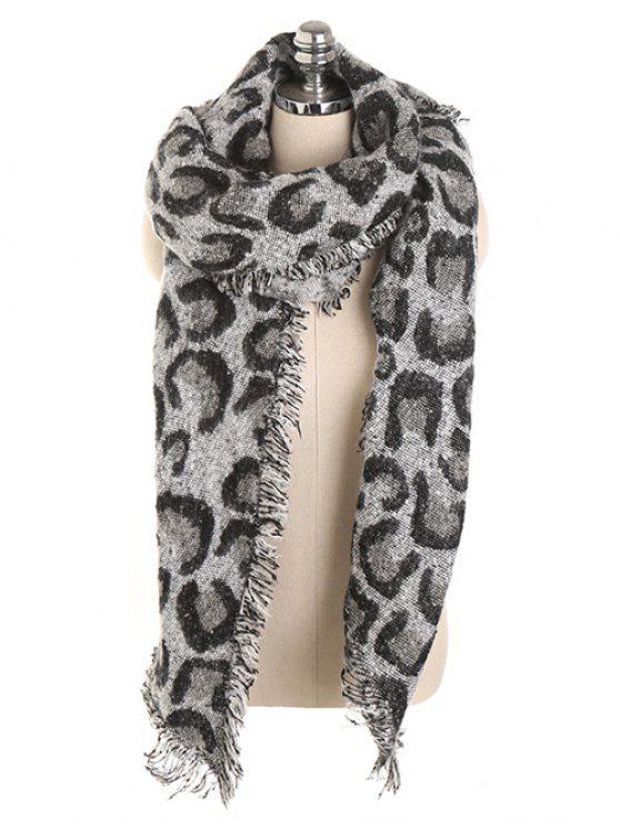 womens Stylish Leopard Print Fringed Shawl Scarf - BLACK