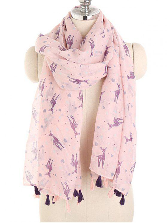 shop Cartoon Elk Print Silky Scarf - PINK