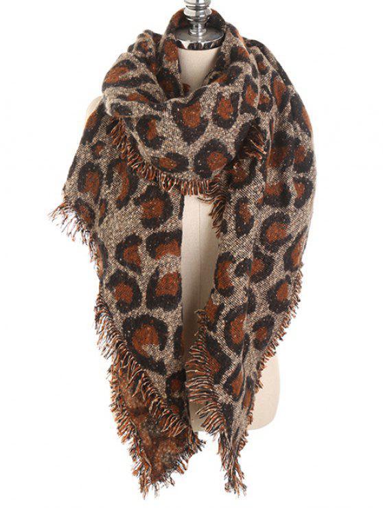 latest Stylish Leopard Print Fringed Shawl Scarf - BROWN