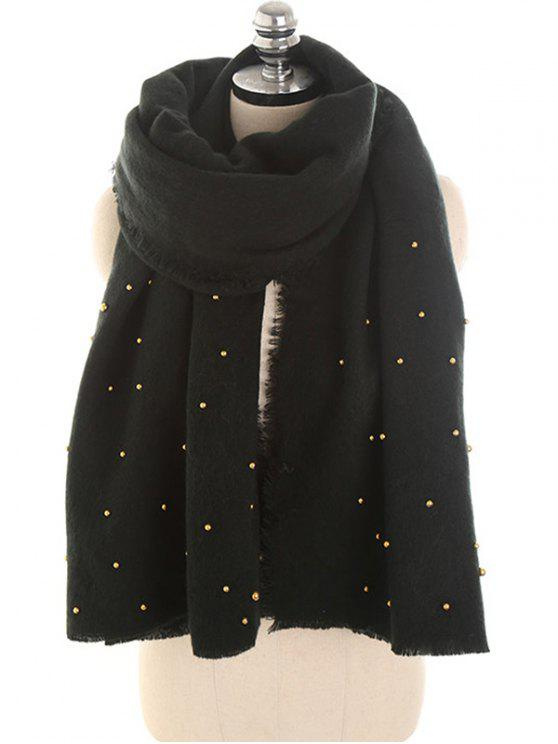 buy Faux Pearl Embellished Long Scarf - BLACK