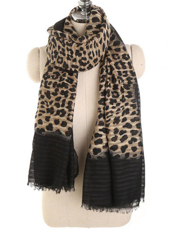women's Vintage Leopard Printing Long Scarf - CAMEL BROWN