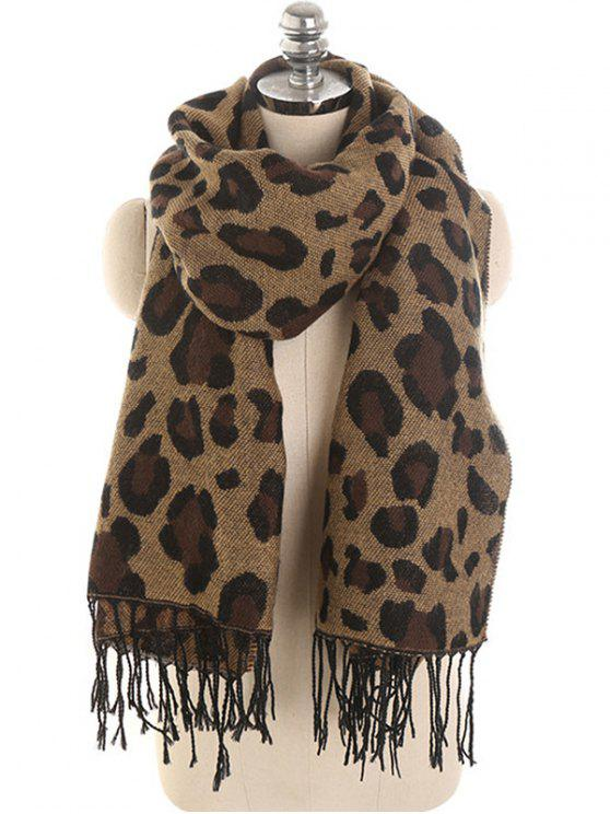 outfit Leopard Pattern Embellished Shawl Scarf - BROWN