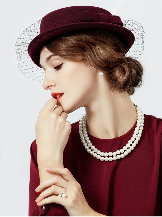 trendy Elegant Mesh Solid Color Wool Beret - RED WINE