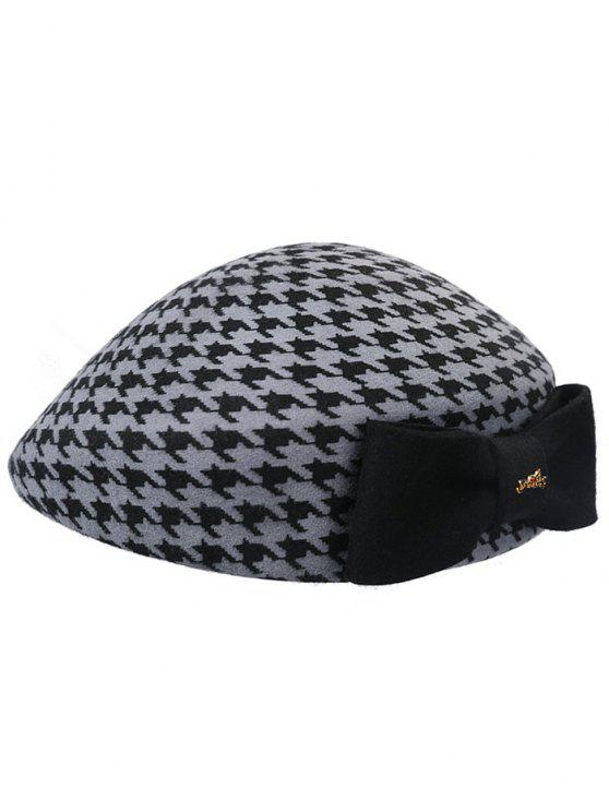 new Elegant Houndstooth Bowknot Beret - ASH GRAY