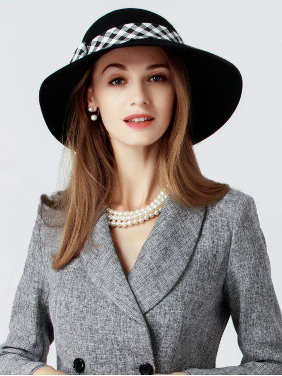 best Plaid Bowknot Wide Brim Elegant Hat - BLACK