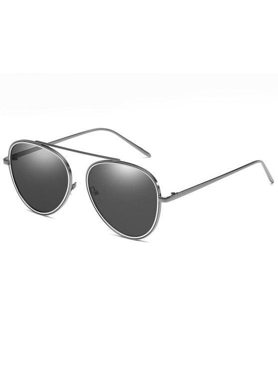 fancy Crossbar Metal Frame Pilot Sunglasses - SILVER