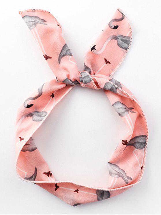 affordable Stylish Flamingo Printing Silky Hair Band - PINK