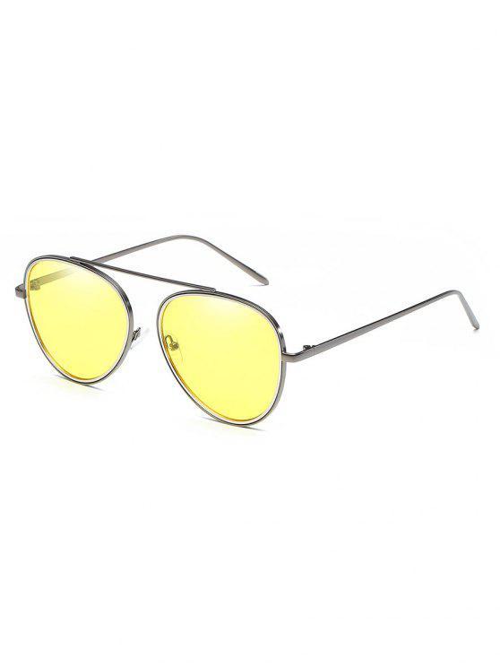 unique Crossbar Metal Frame Pilot Sunglasses - YELLOW