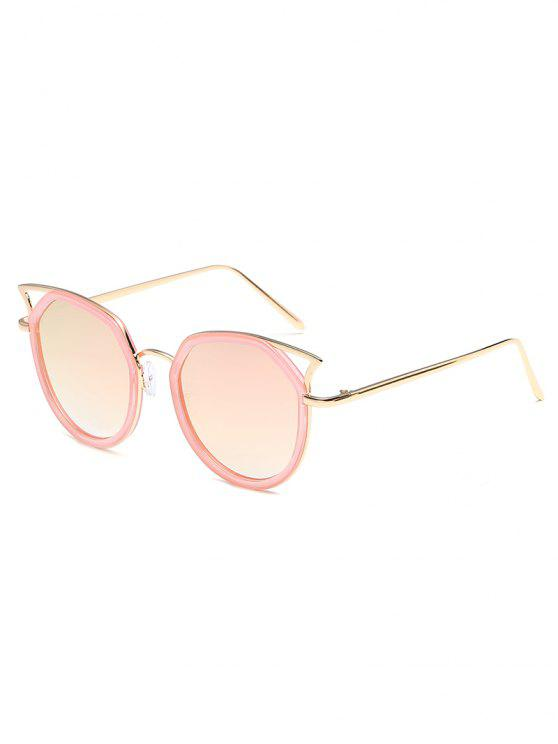 lady Anti Fatigue Hollow Out Metal Frame Sunglasses - LIGHT PINK