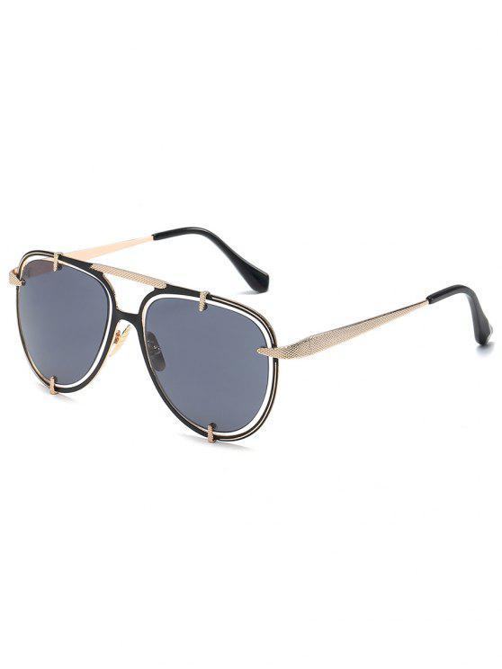 hot Metal Frame Crossbar Driving Sunglasses - BLACK