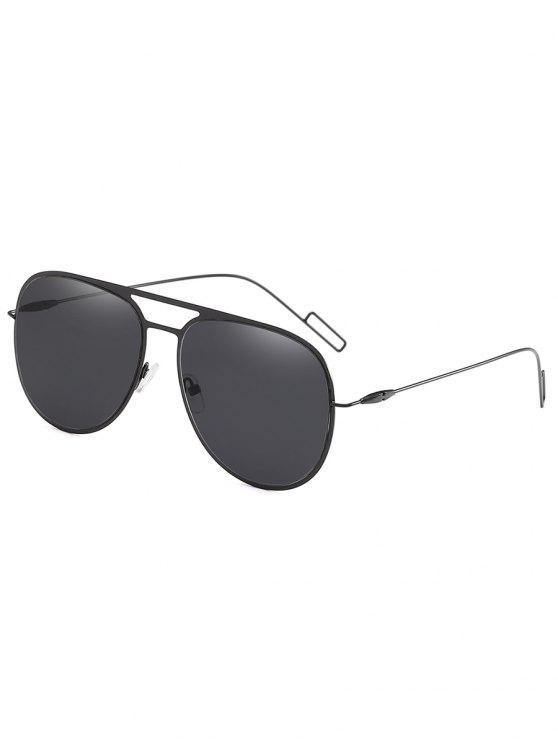 shops Metal Frame Crossbar Novelty Sunglasses - BLACK