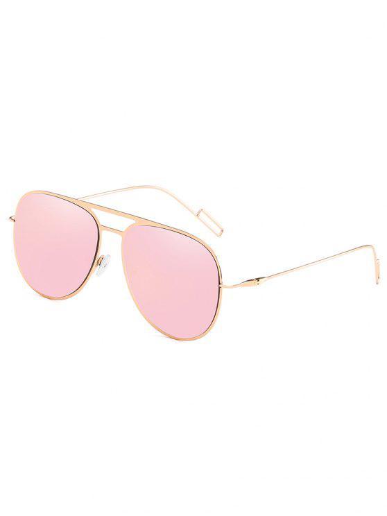 fashion Metal Frame Crossbar Novelty Sunglasses - LIGHT PINK