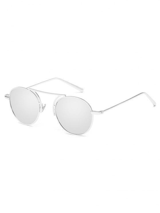 women Metal Frame Crossbar Oval Sunglasses - SILVER