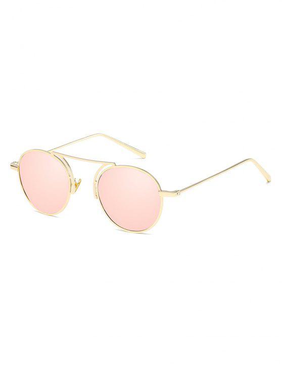 hot Metal Frame Crossbar Oval Sunglasses - LIGHT PINK