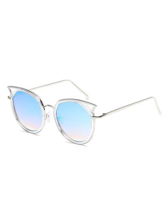 latest Anti Fatigue Hollow Out Metal Frame Sunglasses - LIGHT AQUAMARINE