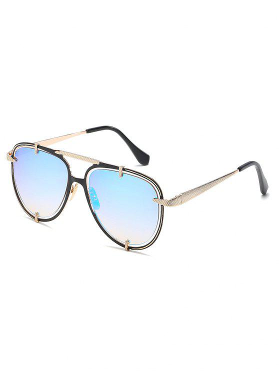 buy Metal Frame Crossbar Driving Sunglasses - LIGHT SKY BLUE