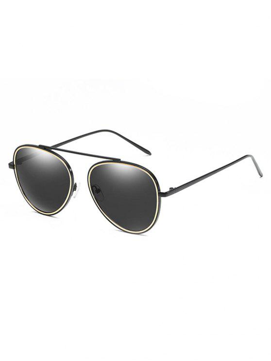 women Crossbar Metal Frame Pilot Sunglasses - BLACK
