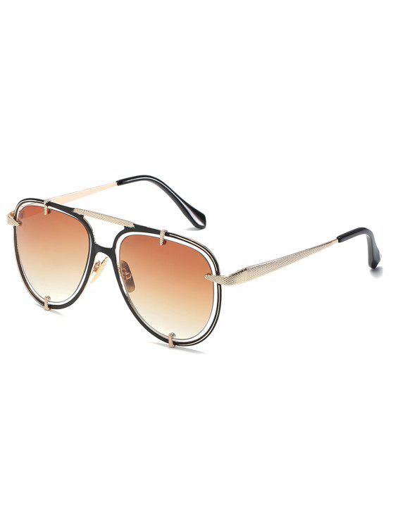 outfit Metal Frame Crossbar Driving Sunglasses - TAN