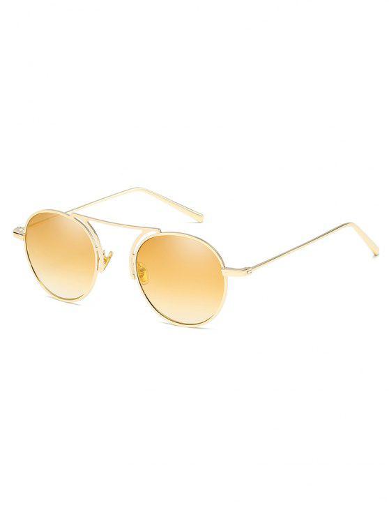 fashion Metal Frame Crossbar Oval Sunglasses - GOLD