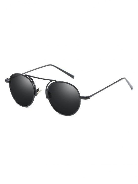 fancy Metal Frame Crossbar Oval Sunglasses - BLACK