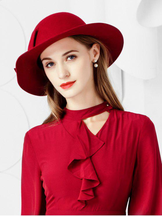 new Bowknot Side Wide Brim Woolen Hat - RED