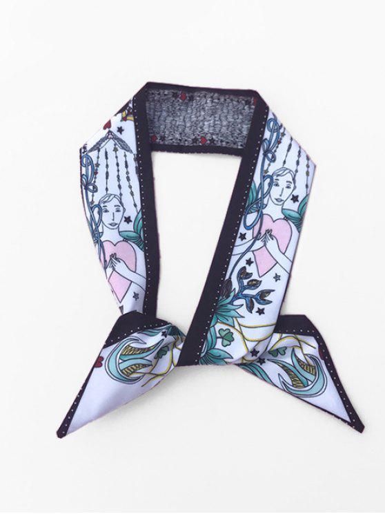 unique Elegant Lady Heart Printing Silky Scarf - BLACK