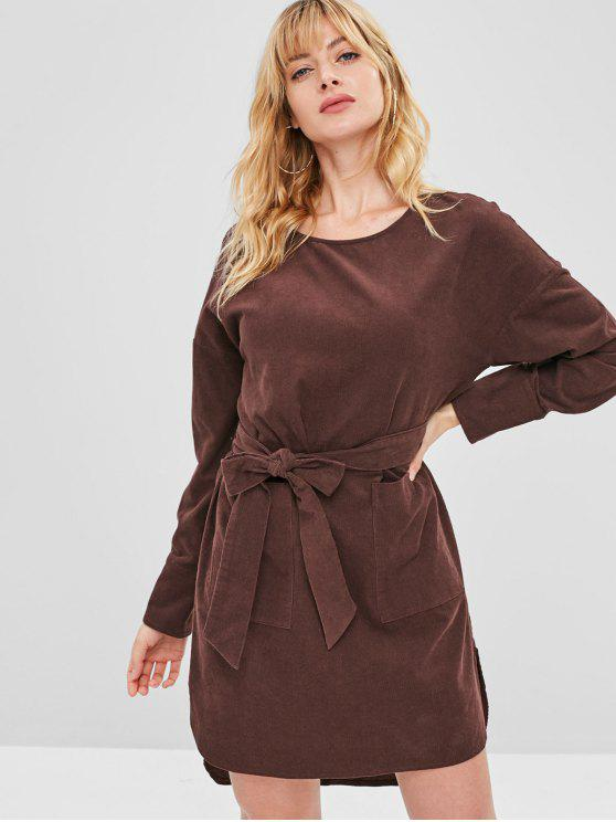 chic ZAFUL Corduroy Pocket Belted Dress - COFFEE L