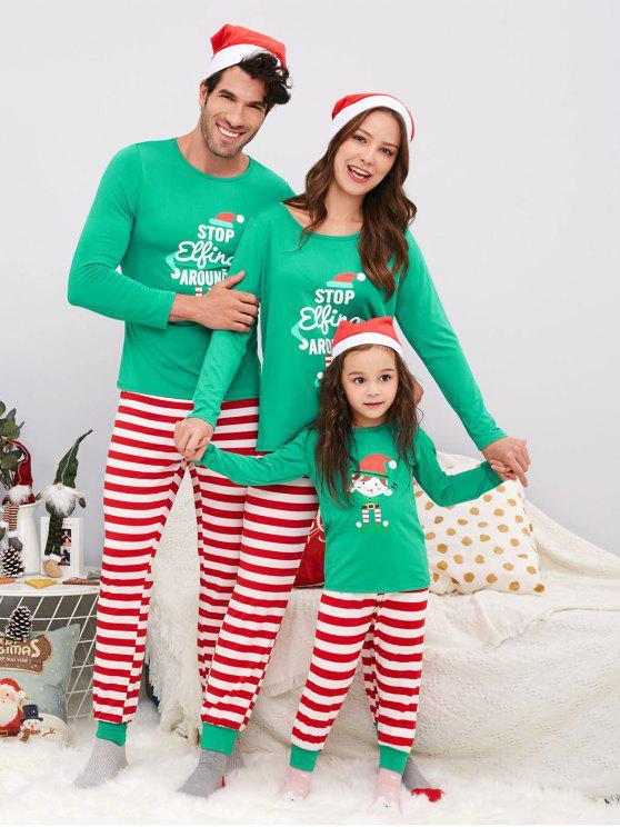 ladies Striped Family ChristmasPajama Set - GREEN MOM XL