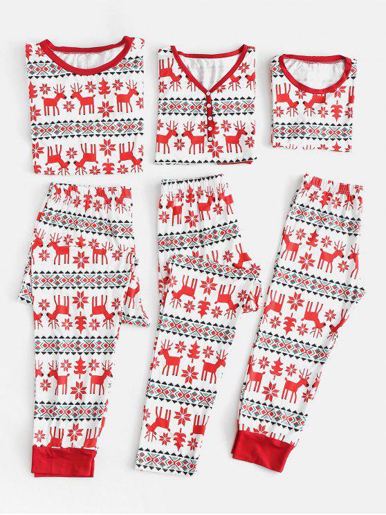 unique Elk Snowflake Family Christmas Pajamas - RED KID 8T