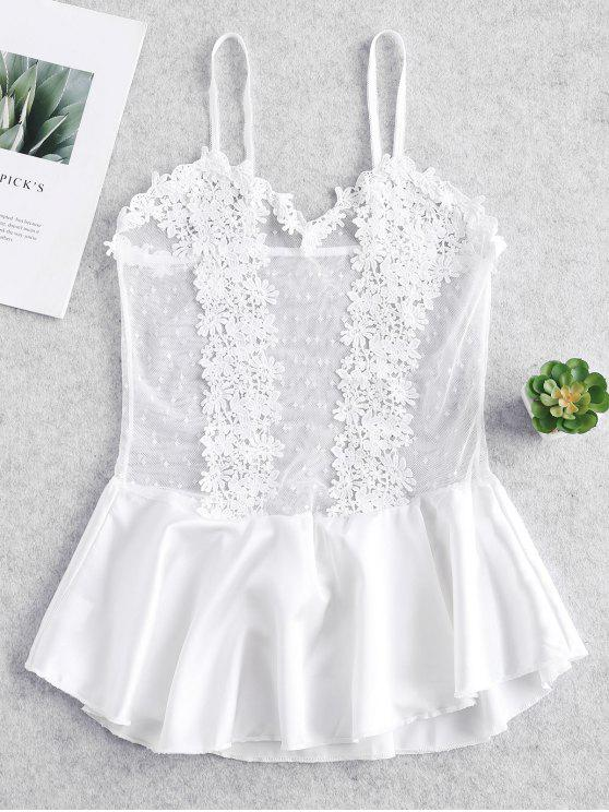 ab0bb641900 24% OFF  2019 Lace Floral Crochet Lingerie Dress In WHITE