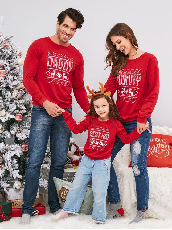 unique Elk Snowflake Family Christmas Sweatshirt - LAVA RED KID 2XL