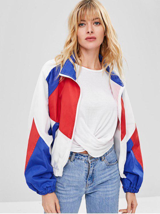 affordable Raglan Sleeve Color Block Jacket - MULTI 2XL