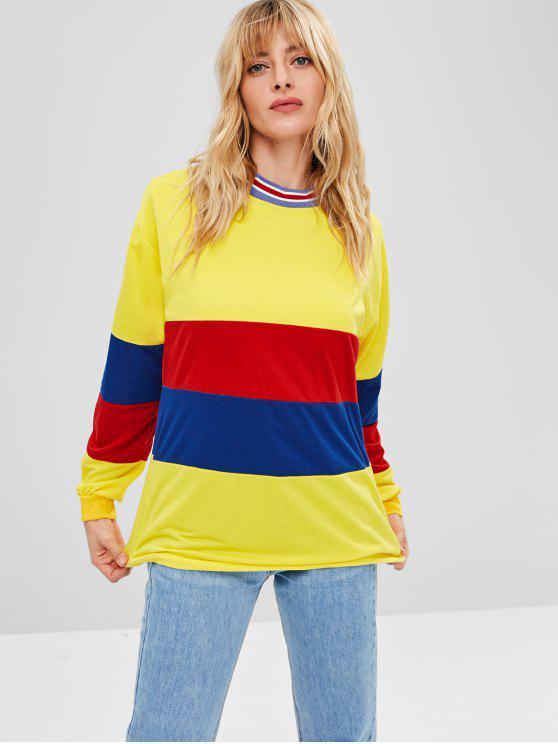 hot Color Block Tunic Sweatshirt - MULTI M