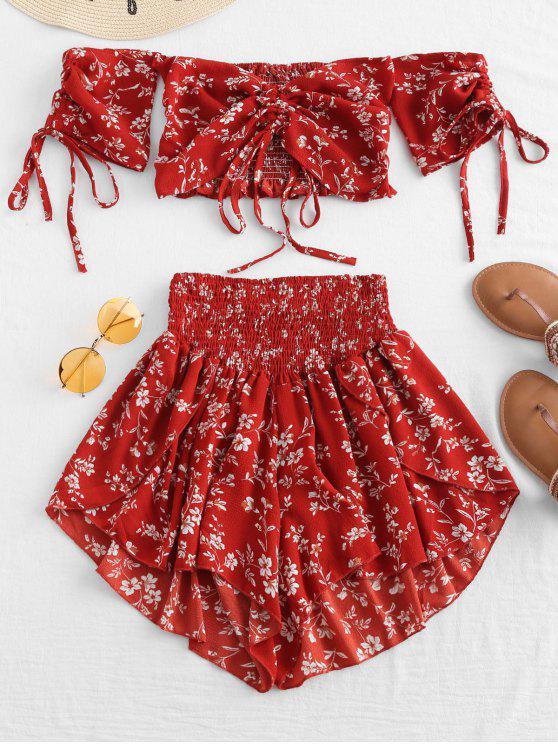 Fora do ombro cinched conjunto floral - Castanha Vermelha XL