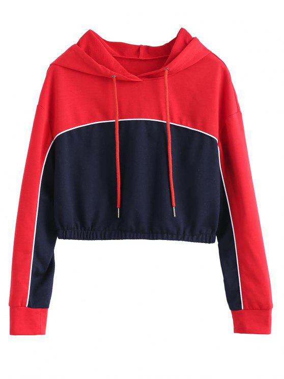 trendy ZAFUL Color Block Crop Piping Hoodie - MULTI M