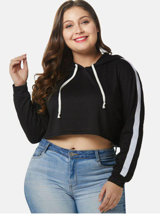 affordable Contrast Plus Size Crop Hoodie - BLACK 4X