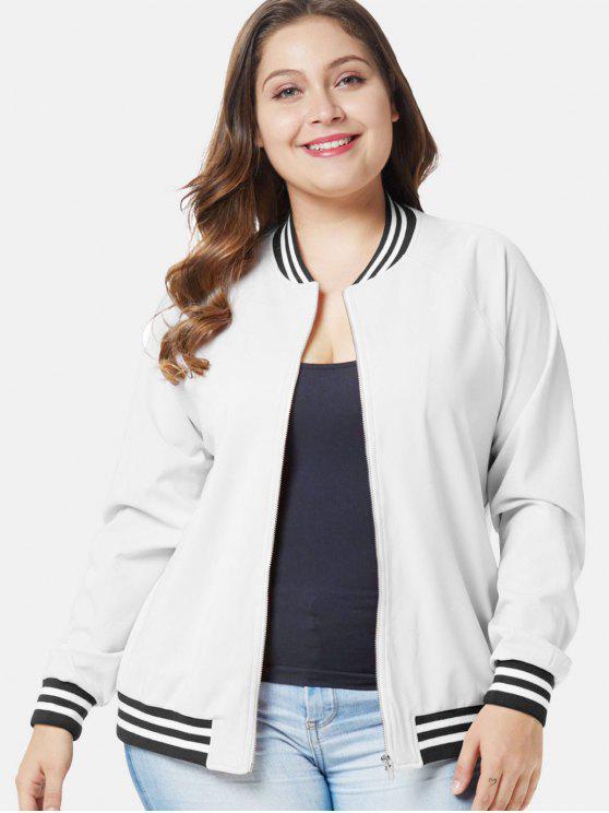 Gestreifte Trim Plus Size Zip Jacke - Weiß 2X
