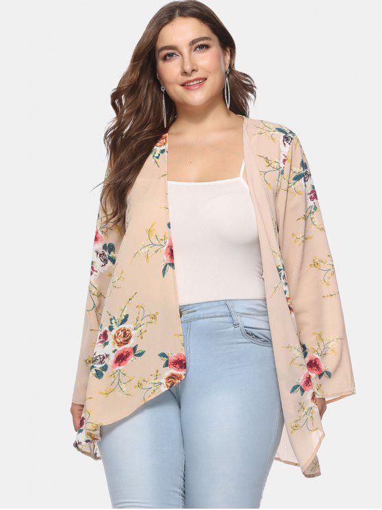affordable Flower Print Plus Size Tunic Cardigan - DEEP PEACH 1X