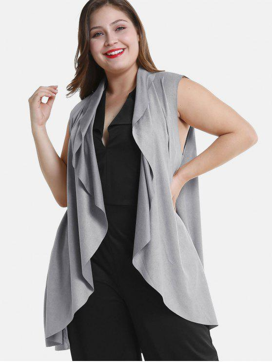 women Draped Plus Size Tunic Waistcoat - LIGHT GRAY 4X