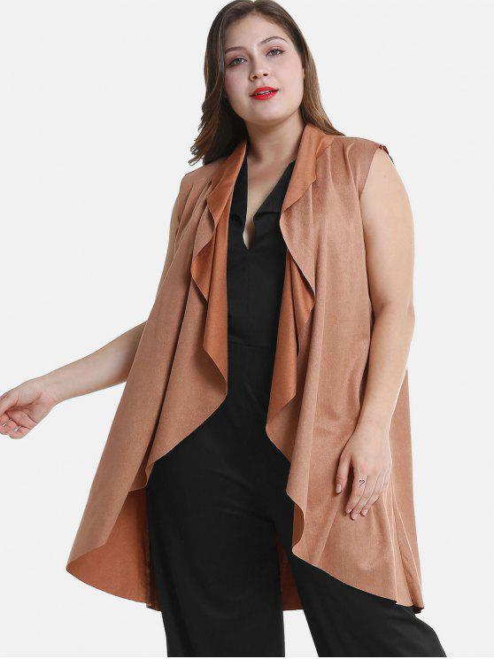 latest Draped Plus Size Tunic Waistcoat - LIGHT BROWN 4X