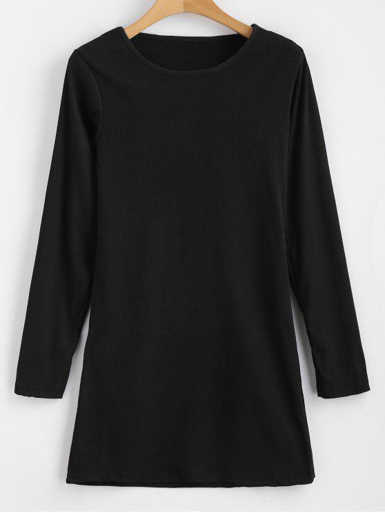 Langärmliges, figurbetontes Kleid mit Rippenstrick - Schwarz M