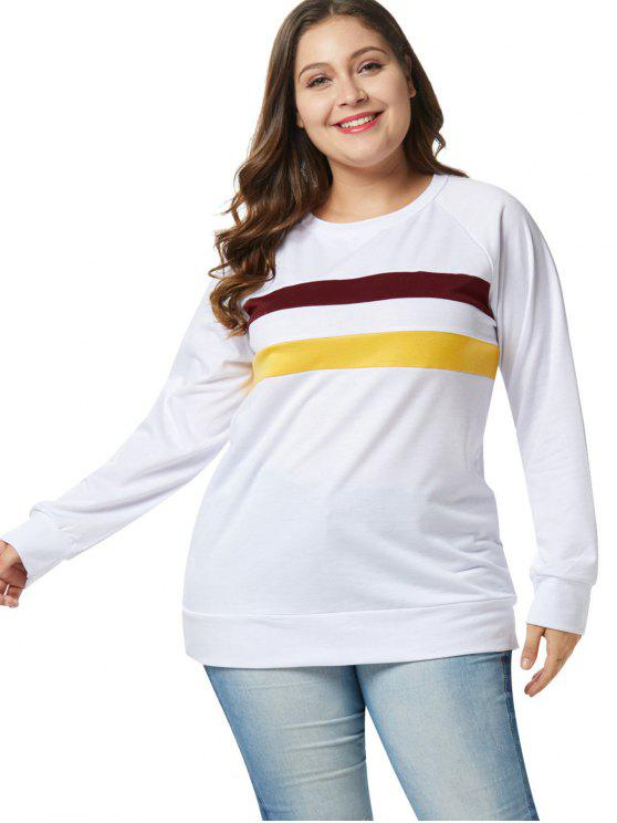 Sweat-shirt Tunique en Blocs de Couleurs de Grande Taille - Blanc 4X