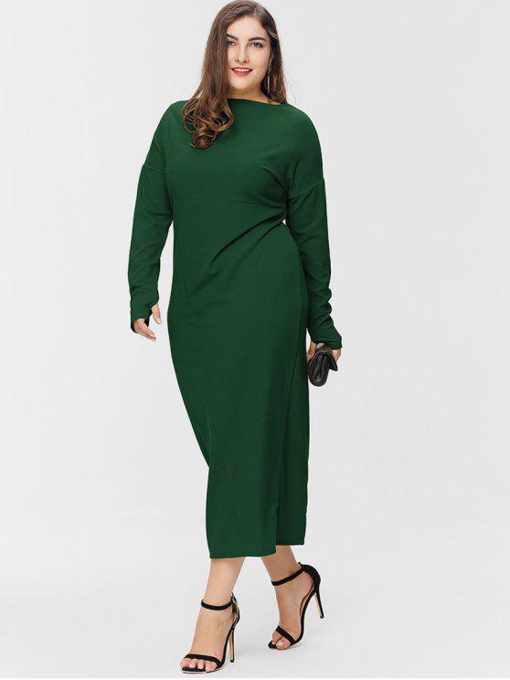 Armhole Plus Size Maxi Dress - Verde Médio do Mar 3X