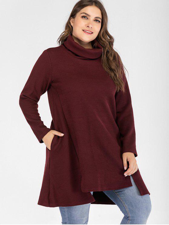 Felpa Plus Size Con Collo Alto - Vino Rosso 1X