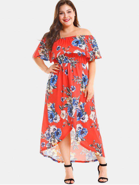 98e188cd6203 48% OFF  2019 Plus Size Floral Slit Off Shoulder Dress In RED