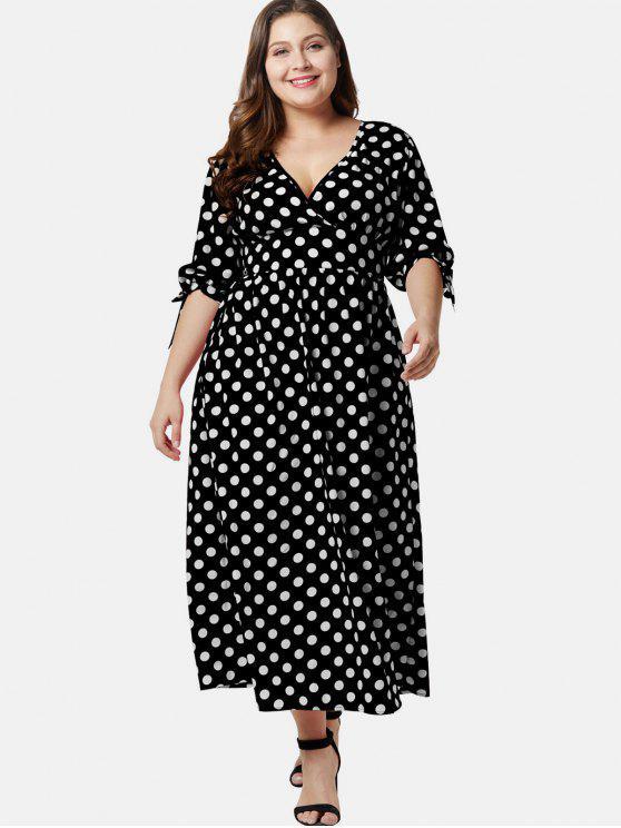 38c42fde669 30% OFF  2019 Plunge Plus Size Polka Dot Maxi Dress In BLACK