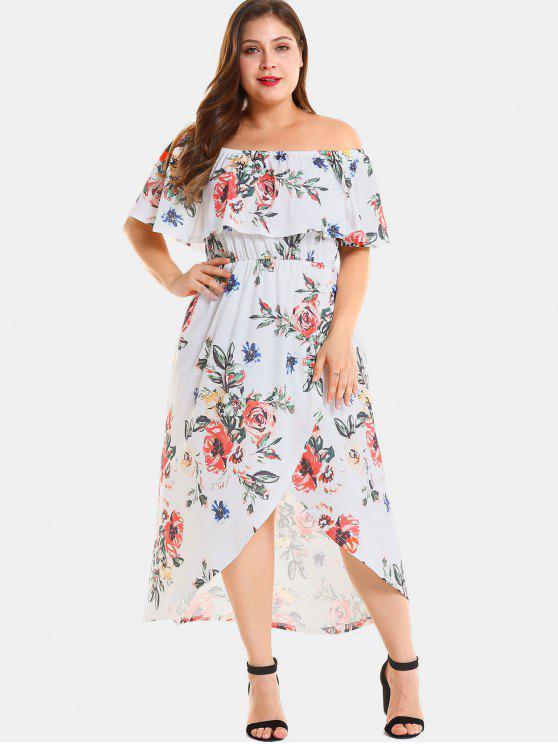 76868915c5c6 2019 Plus Size Floral Slit Off Shoulder Dress In WHITE 2X