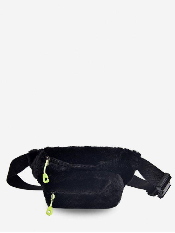 womens Double Zipper Design Fluffy Leather Crossbody Bag - BLACK